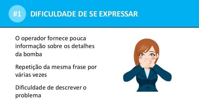 Opportunities for dialogueDIFICULDADE DE SE EXPRESSAR#1 O operador fornece pouca informação sobre os detalhes da bomba Rep...