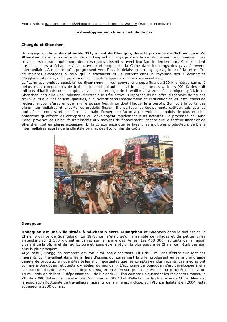 Extraits du « Rapport sur le développement dans le monde 2009 » (Banque Mondiale)                                  Le déve...