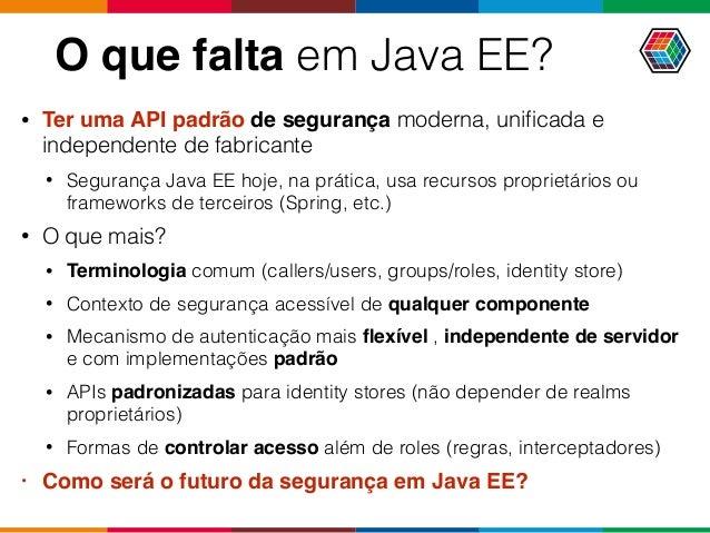 O que falta em Java EE? • Ter uma API padrão de segurança moderna, unificada e independente de fabricante • Segurança Java ...