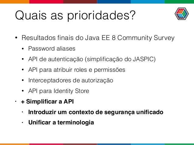 Quais as prioridades? • Resultados finais do Java EE 8 Community Survey • Password aliases • API de autenticação (simplifica...