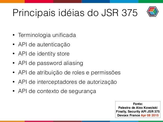 Principais idéias do JSR 375 • Terminologia unificada • API de autenticação • API de identity store • API de password alias...