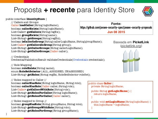 Proposta + recente para Identity Store public interface IdentityStore { // Callers and Groups Caller loadCaller(String log...