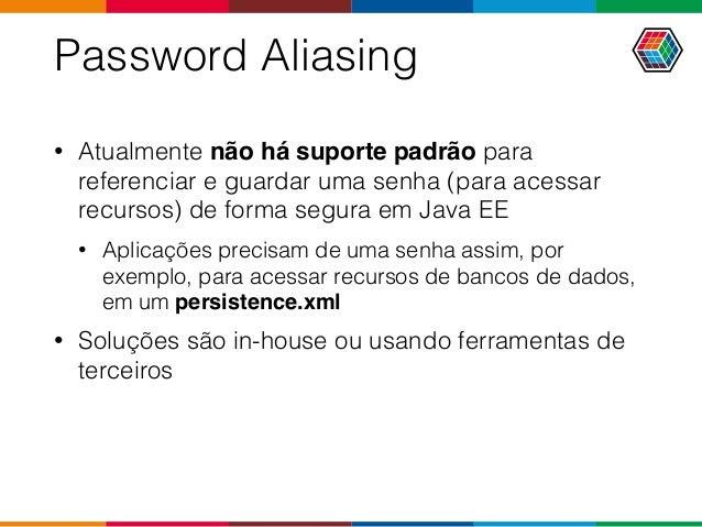 Password Aliasing • Atualmente não há suporte padrão para referenciar e guardar uma senha (para acessar recursos) de forma...