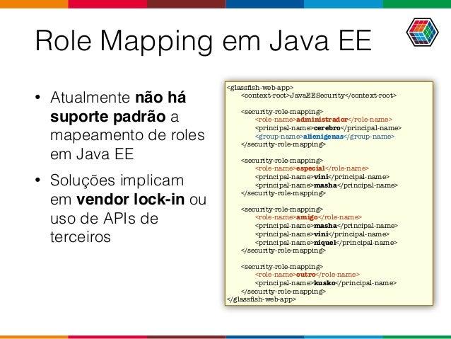 Role Mapping em Java EE • Atualmente não há suporte padrão a mapeamento de roles em Java EE • Soluções implicam em vendor ...