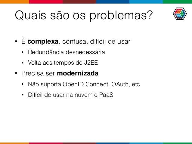 Quais são os problemas? • É complexa, confusa, difícil de usar • Redundância desnecessária • Volta aos tempos do J2EE • Pr...