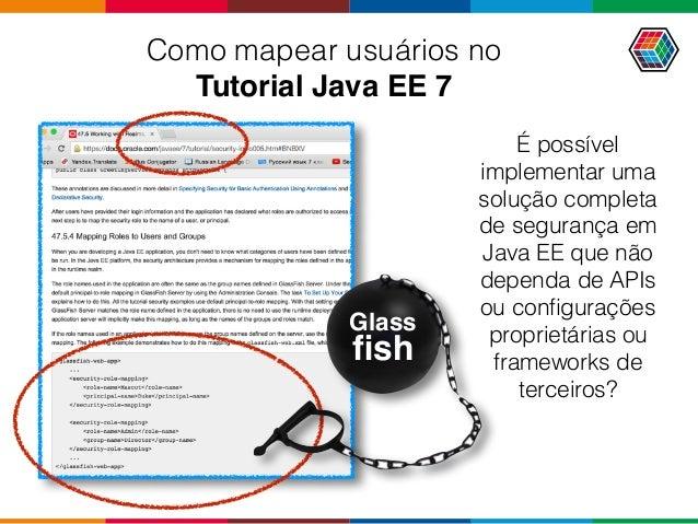 Como mapear usuários no Tutorial Java EE 7 Glass fish É possível implementar uma solução completa de segurança em Java EE...