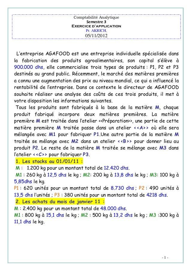 Comptabilité Analytique Semestre 3 Exercice d'application Pr. AKRICH.  05/11/2012  L'entreprise AGAFOOD est une entreprise...