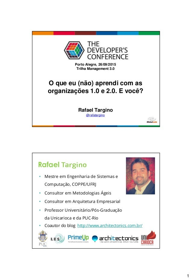 1 Globalcode – Open4education Porto Alegre, 26/09/2015 Trilha Management 3.0 Rafael Targino @rafatargino O que eu (não) ap...