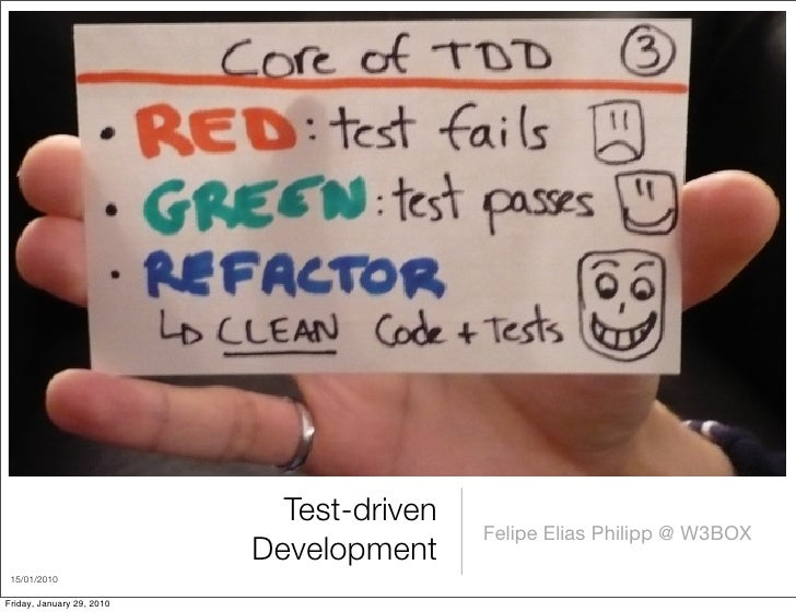 Test-driven                                            Felipe Elias Philipp @ W3BOX                            Development...