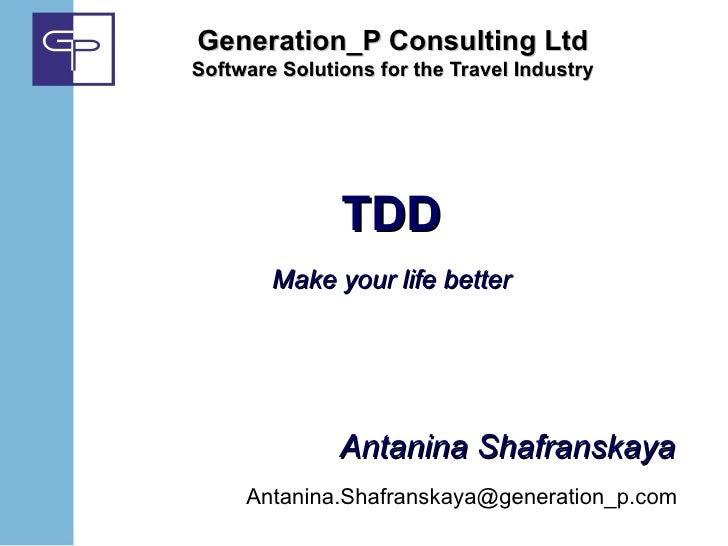 Generation_P Consulting LtdSoftware Solutions for the Travel Industry               TDD        Make your life better      ...