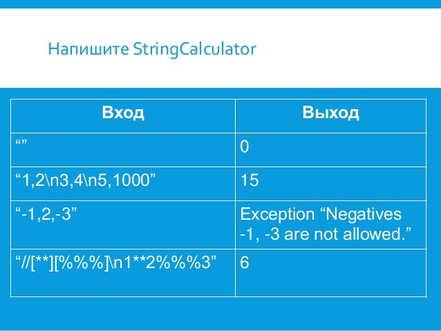 """Напишите StringCalculator Вход  Выход  """"""""  0  """"1,2n3,4n5,1000""""  15  """"-1,2,-3""""  Exception """"Negatives -1, -3 are not allowed..."""
