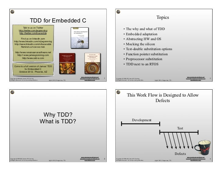 Topics                                    TDD for Embedded C                    Talk to us on Twitter                http:...