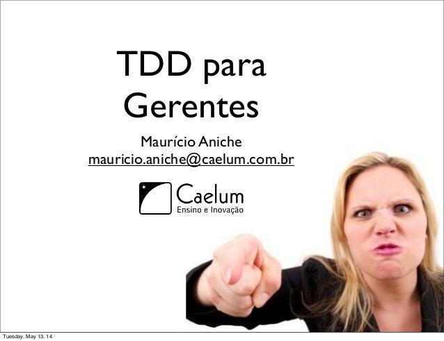 TDD para Gerentes Maurício Aniche mauricio.aniche@caelum.com.br Tuesday, May 13, 14