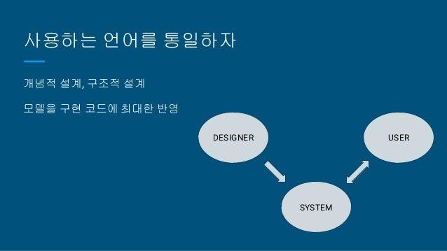 사용하는 언어를 통일하자 개념적 설계, 구조적 설계 모델을 구현 코드에 최대한 반영 DESIGNER USER SYSTEM