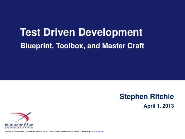Test Driven Development                       Blueprint, Toolbox, and Master Craft                                        ...