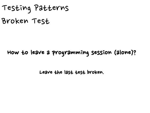 Green Bar Patterns Fake It ('til you make it) What is the first implementation to make a test pass? Return a constant.