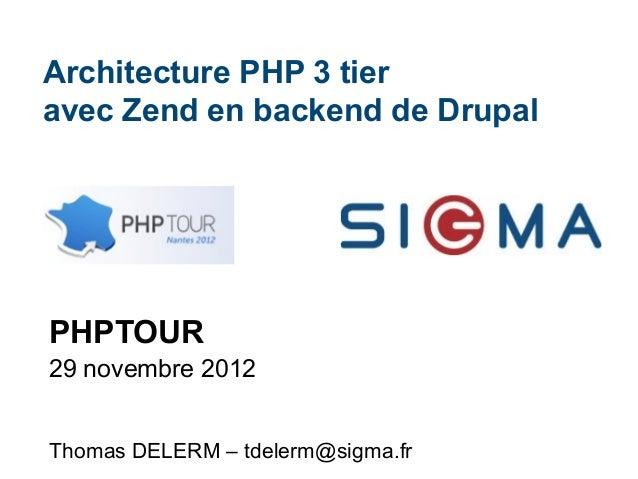 Architecture PHP 3 tier avec Zend en backend de Drupal  PHPTOUR 29 novembre 2012 Thomas DELERM – tdelerm@sigma.fr