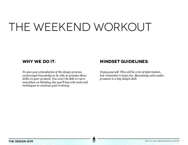 the weekend workout       Why We do it:                                         Mindset Guidelines:       To give you a fo...