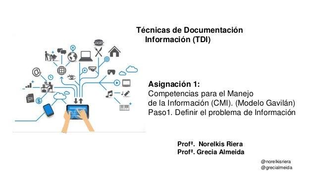 @norelkisriera @grecialmeida Profª. Norelkis Riera Profª. Grecia Almeida Técnicas de Documentación e Información (TDI) Asi...