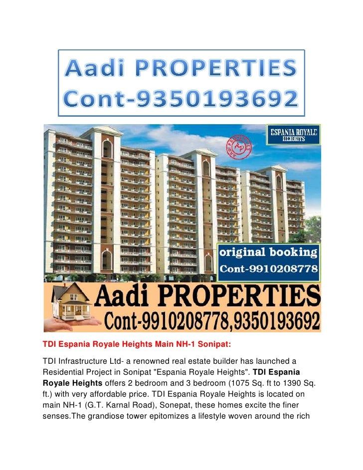 TDI Espania Royale Heights Main NH Sonipat:                                NH-1TDI Infrastructure Ltd- a renowned real est...