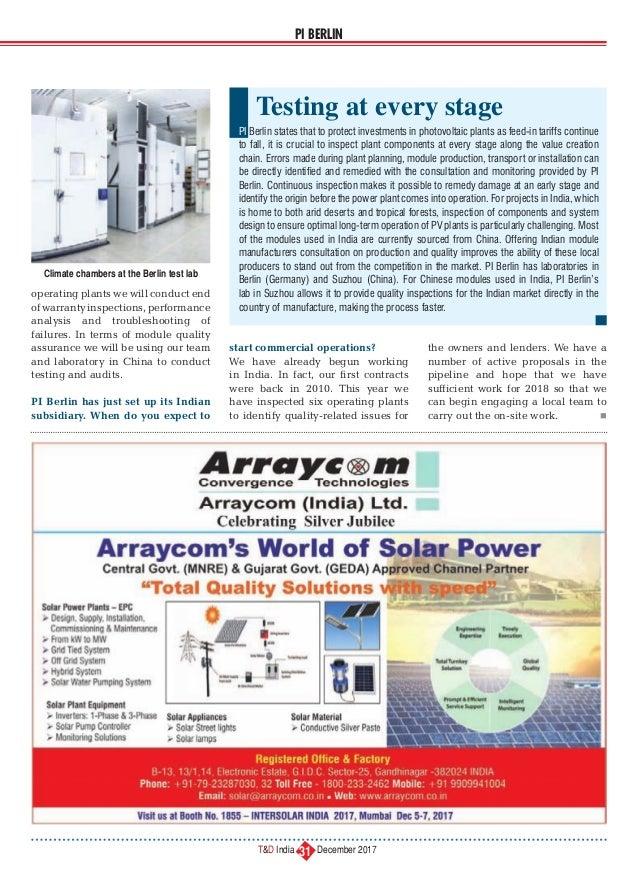 T&D India (December 2017) - Focus Solar India