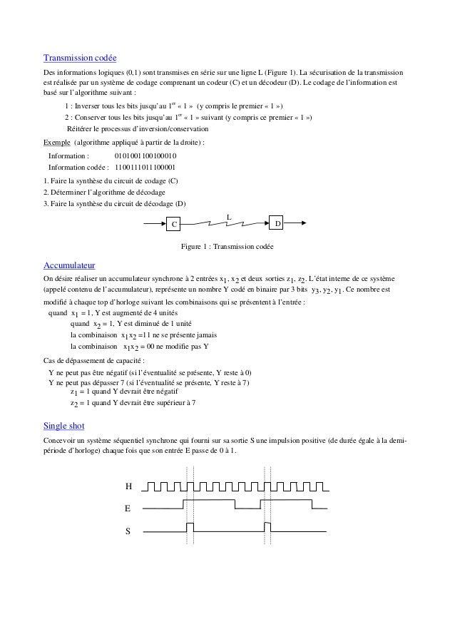 Transmission codée Des informations logiques (0,1) sont transmises en série sur une ligne L (Figure 1). La sécurisation de...