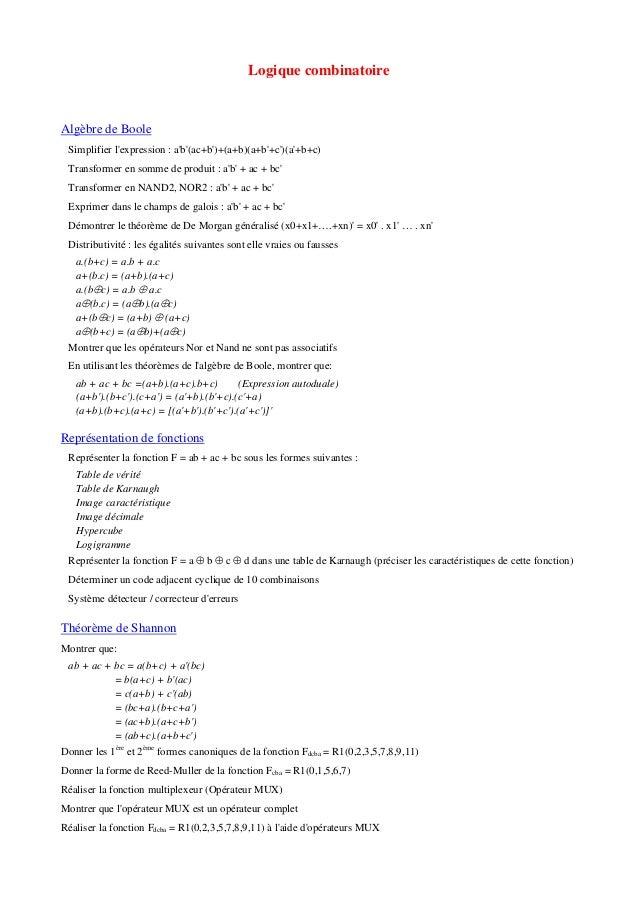 Logique combinatoire Algèbre de Boole Simplifier l'expression : a'b'(ac+b')+(a+b)(a+b'+c')(a'+b+c) Transformer en somme de...