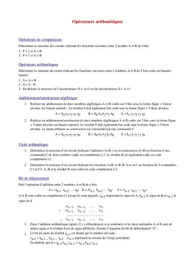 Opérateurs arithmétiques Opérateurs de comparaison Déterminer la structure des circuits réalisant les fonctions suivantes ...