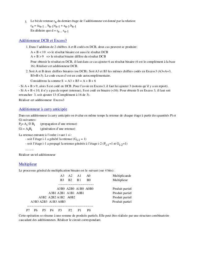 3. Le bit de retenue rn du dernier étage de l'additionneur est donné par la relation: rn = (an-1 _ bn-1)rn-1 + an-1.bn-1 E...