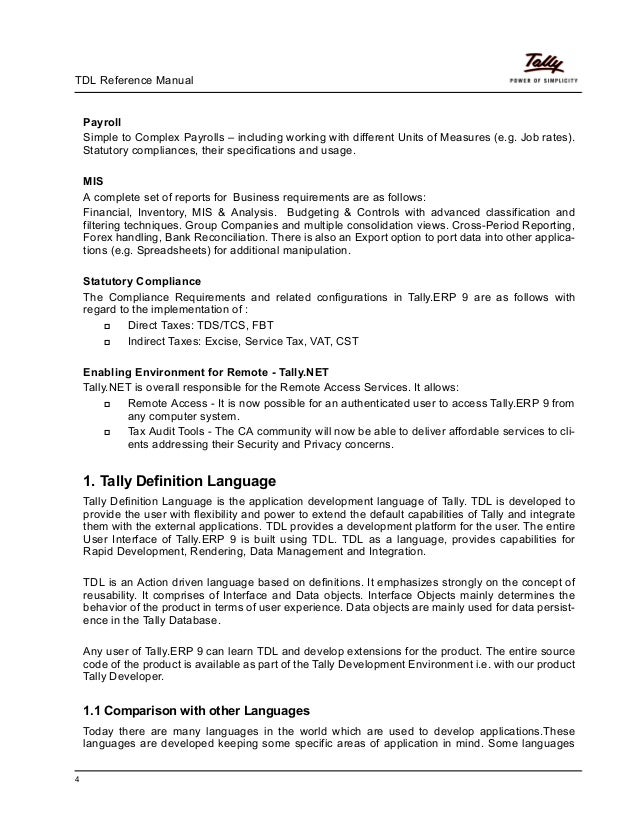 Tdl reference manual