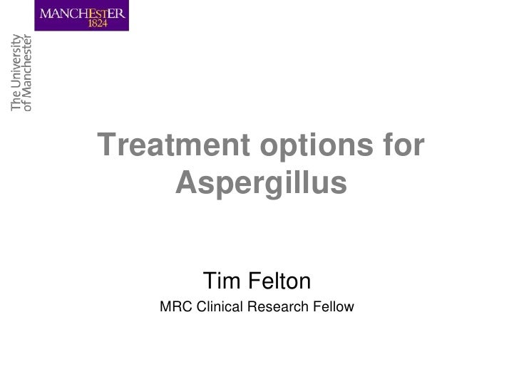Treatment options for     Aspergillus         Tim Felton   MRC Clinical Research Fellow