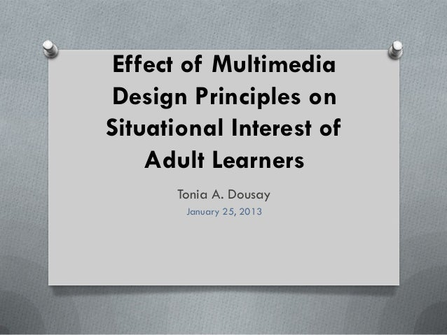 Effect of MultimediaDesign Principles onSituational Interest of    Adult Learners      Tonia A. Dousay       January 25, 2...