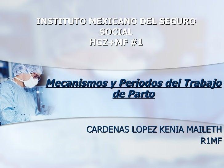 INSTITUTO MEXICANO DEL SEGURO SOCIAL HGZ+MF #1 Mecanismos y Periodos del Trabajo de Parto CARDENAS LOPEZ KENIA MAILETH R1MF