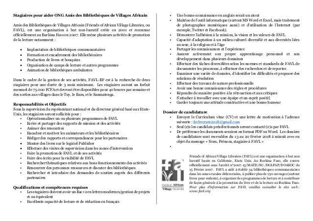 Stagiaires pour aider ONG Amis des Bibliothèques de Villages Africain Amis des Bibliothèques de Villages Africain (Friends...