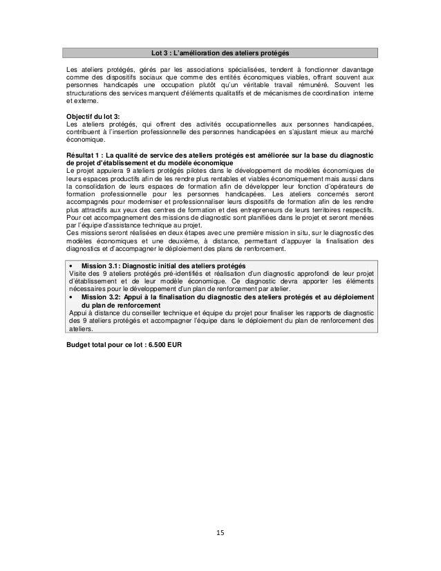 Lot 3 : L'amélioration des ateliers protégés Les ateliers protégés, gérés par les associations spécialisées, tendent à fon...