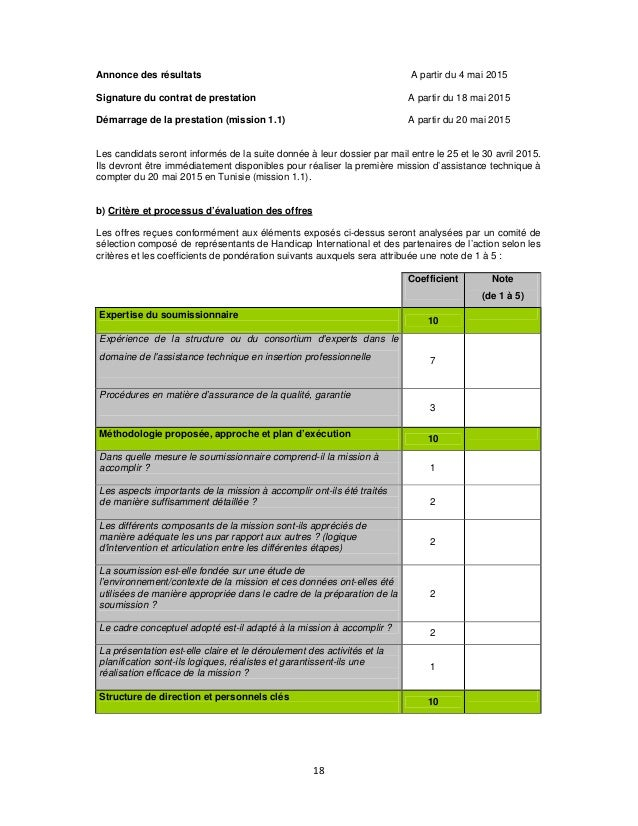 Annonce des résultats Signature du contrat de prestation Démarrage de la prestation (mission 1.1) A partir du 4 mai 2015 A...