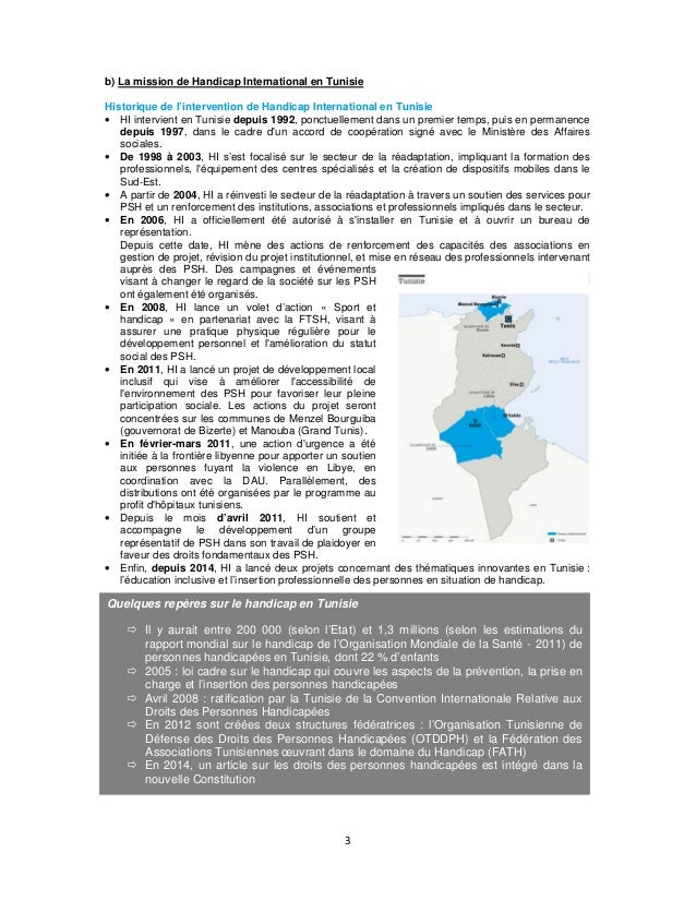 b) La mission de Handicap International en Tunisie Historique de l'intervention de Handicap International en Tunisie • HI ...