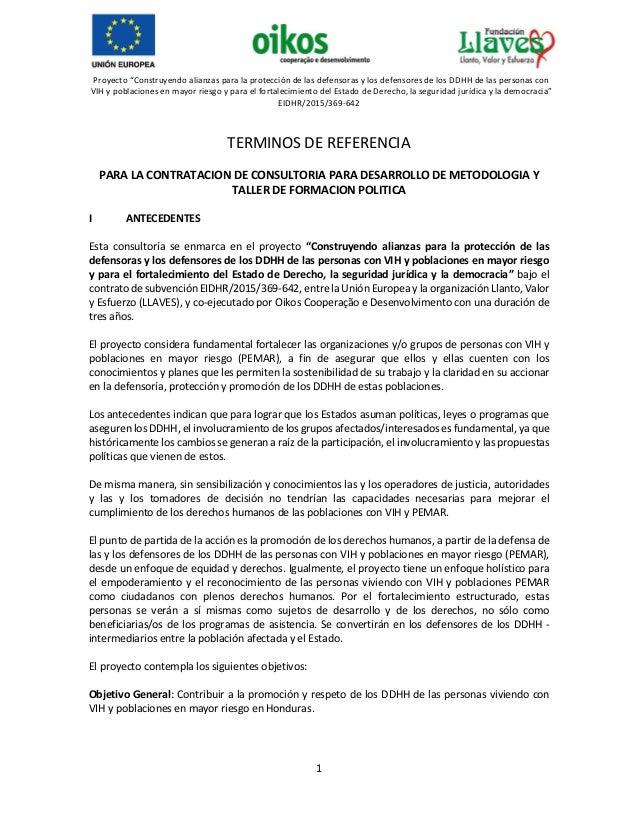 """Proyecto """"Construyendo alianzas para la protección de las defensoras y los defensores de los DDHH de las personas con VIH ..."""