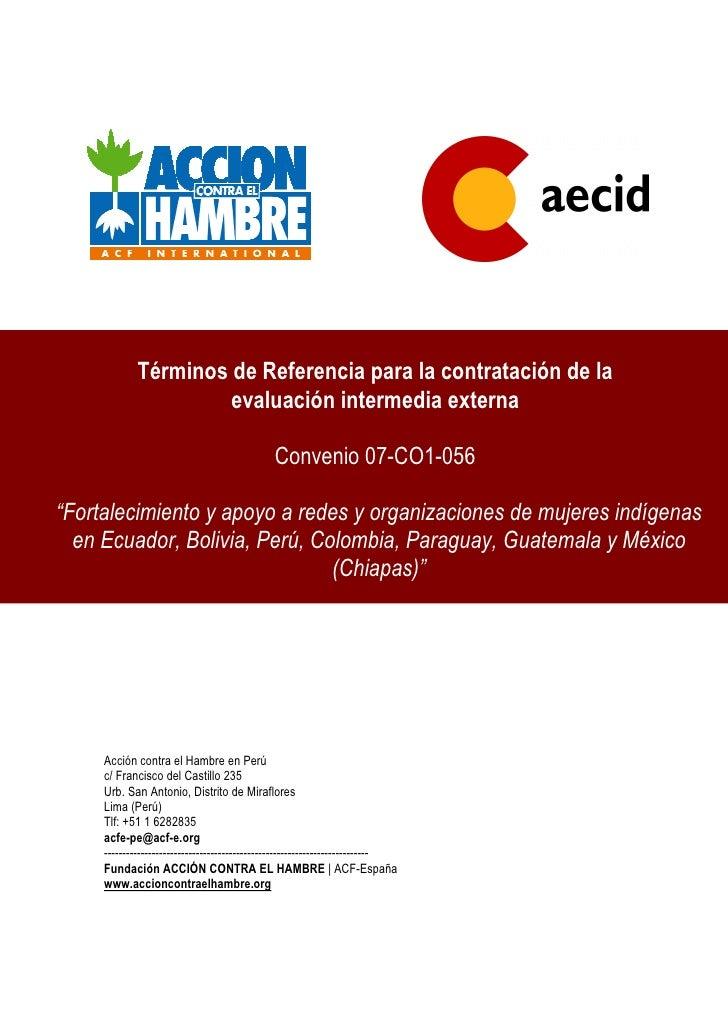 Términos de Referencia para la contratación de la                       evaluación intermedia externa                     ...