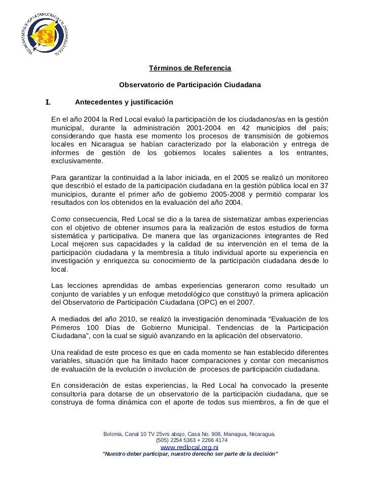 Términos de Referencia                           Observatorio de Participación CiudadanaΙ.          Antecedentes y justifi...