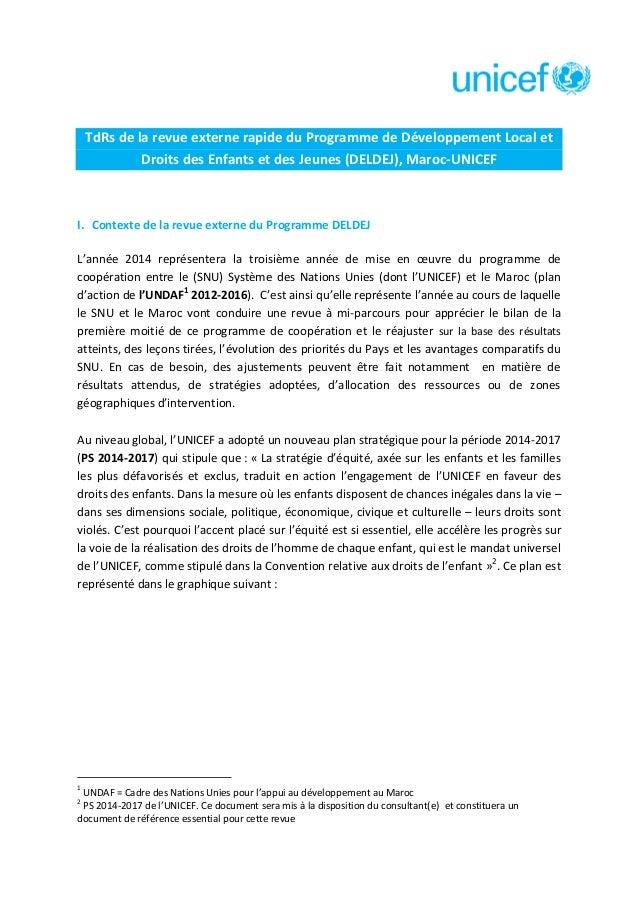 TdRs de la revue externe rapide du Programme de Développement Local et Droits des Enfants et des Jeunes (DELDEJ), Maroc-UN...