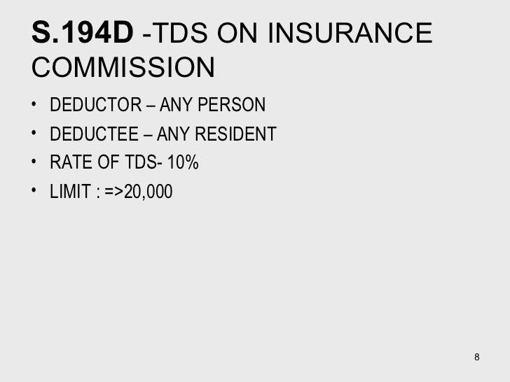 S.194D  -TDS ON INSURANCE COMMISSION  <ul><li>DEDUCTOR – ANY PERSON  </li></ul><ul><li>DEDUCTEE – ANY RESIDENT </li></ul><...