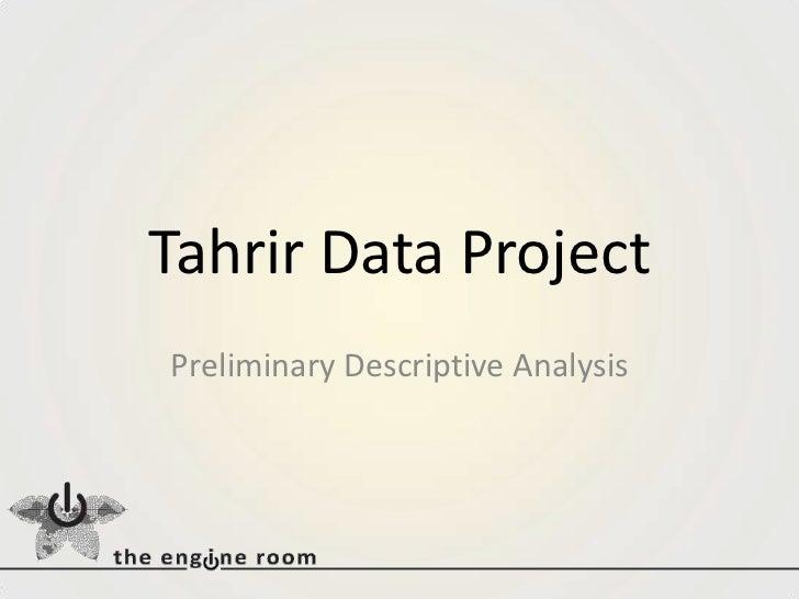 Tahrir Data Project<br />Preliminary Descriptive Analysis<br />