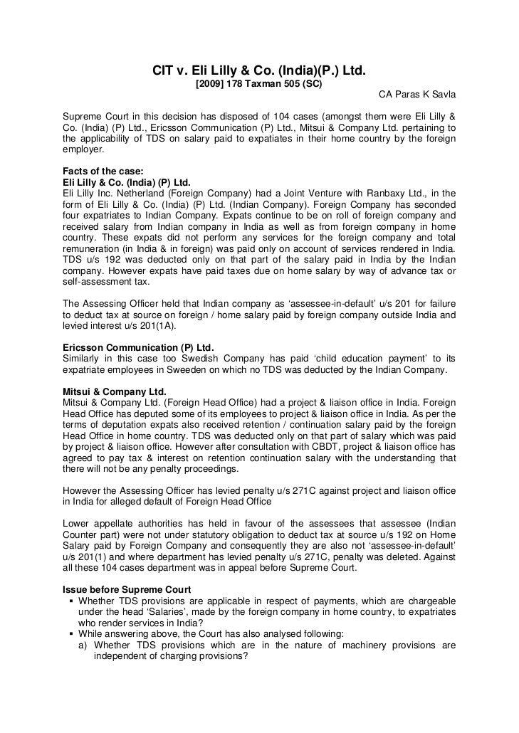 CIT v. Eli Lilly & Co. (India)(P.) Ltd.                                [2009] 178 Taxman 505 (SC)                         ...