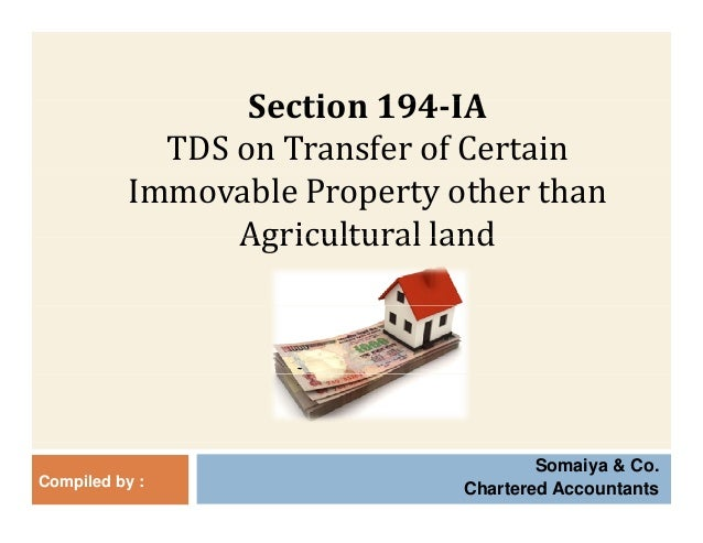 Tds on transfer of immovable property - 194IA