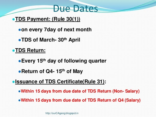 Online tds payment due date