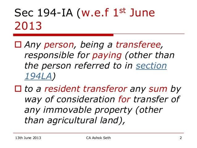 Tds us 194 ia & section 43ca Slide 2