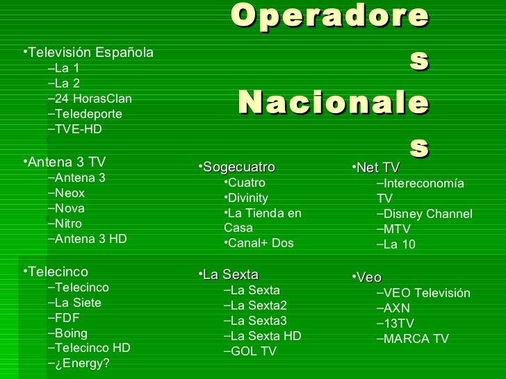 Operadores Nacionales <ul><li>Televisión Española  </li></ul><ul><ul><li>La 1 </li></ul></ul><ul><ul><li>La 2 </li></ul></...