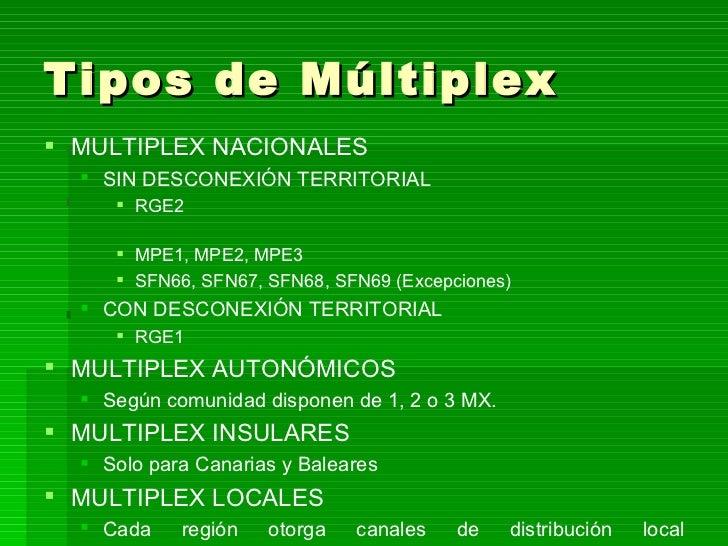 Tipos de Múltiplex <ul><li>MULTIPLEX NACIONALES </li></ul><ul><ul><li>SIN DESCONEXIÓN TERRITORIAL  </li></ul></ul><ul><ul>...