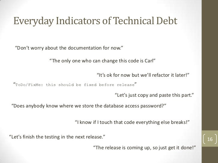 Identifying and Managing Technical Debt – Release of Debt Letter